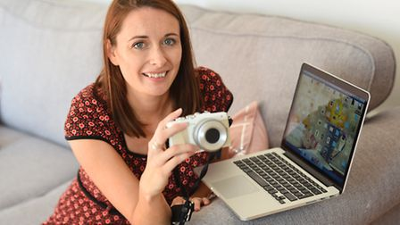 Jules with her vlogging equipment
