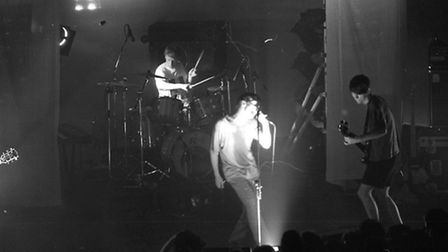 Blur performing on stage at the Corn Exchange in June 1991