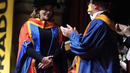 Dianna Quick is given an honourary degree by the University of Suffolk