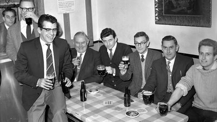 Managing director and editor Ralph Wilson (fifth right) was a regular visitor in the companys soci