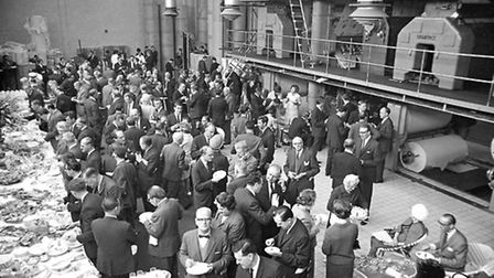 A reception was held in the pressroom of the new site at Lower Brook Street in May 1966