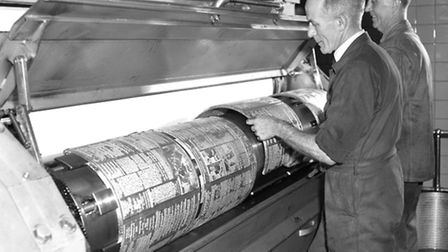 Printing plates being loaded onto the press at Lower Brook Street in May 1966.