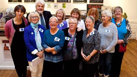 Members of the Ipswich Women's Festival Group at the blue plaques launch with Tony Marsden of the Ip