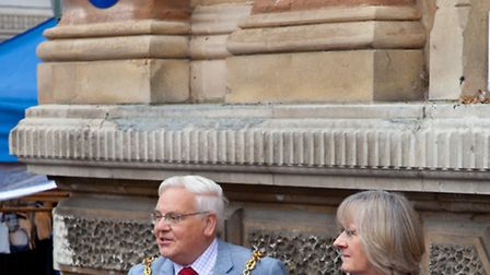 Mayor of Ipswich Roger Fern giving a speech outside Ipswich Town Hall for the celebration of four ne