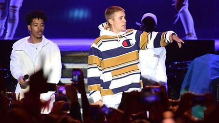 Justin Bieber performs on the Virgin Media Stage during the V Festival at Hylands Park in Chelmsford
