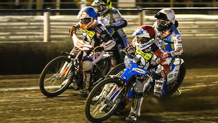 Joe Jacobs (red helmet) and Connor Coles (blue) leading Max Clegg (white) and Ben Hopwood in the fir