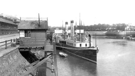 The paddle steamer Essex in New Cut around 1910. A trio of steamers, The Suffolk, Essex and Norfolk,