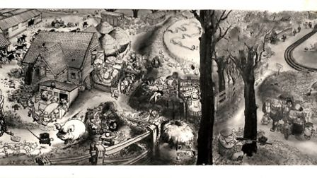 Black and white image of the mural created by Carl Giles in the Sporting Farmer pub in 1963, provide