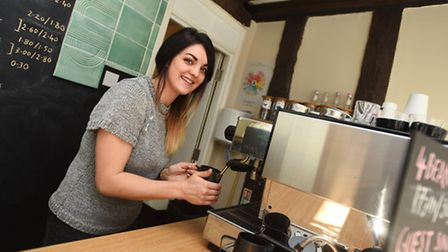 Profile of Applaud Café, winner of Food and Drink award. Suffolk Magazine. Pictured is Beth Cook.