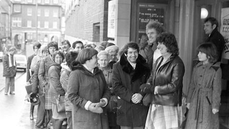 Queues for tickets to see Max Boyce at the Odeon in February 1980