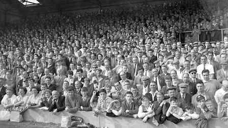Can you spot anybody you know in the crowd at Portman Road in the 1960s?
