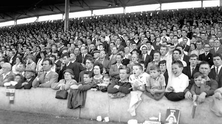 A packed Churchman stand at Portman Road in the early 1960s