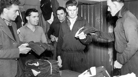 Ipswich Town playing staff from the early 1950s (from the left) Basil Acres, Joe Ball, Jack Parry, T