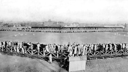 Two photographs were joined to give a panorama of the ground in February 1938, when Ipswich played C