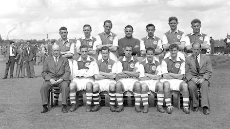 The Ipswich team of 1953/54 (from the left back row) Billy Reed, Jim Feeney, Tom Garneys, Jack Parry