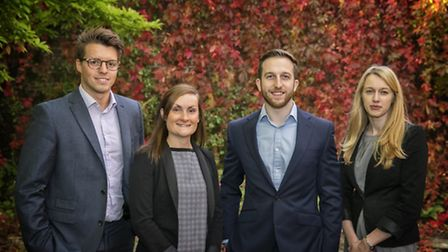 Fourr newly qualified Solicitors at Ashtons Legal. L-R Elliot Clarke, Katy Williamson, Paul Mitc