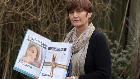 Jackie McCord campaigning for 'Cassie's Law' in 2012. Pic: Martin Rose/Eastnews.co.uk.