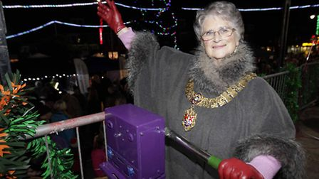 Mayor Jan Garfield,switches on Felixstowe Christmas lights and tree at ceremony at The Triangle, on