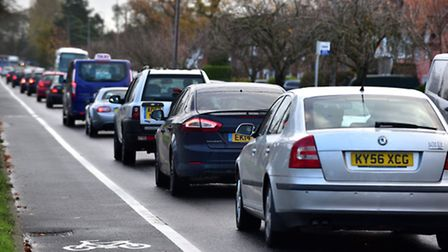 Traffic chaos on Colchester Road in Ipswich due to the closure of the Orwell Bridge.