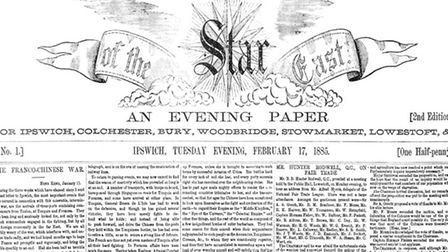 The front page of the first Star of the East - later to become the Ipswich Star - in 1885. Today, we