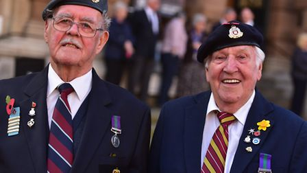 Corporal Gerald Goodchild and Private Clifford Biggs at Ipswich Town Hall for the Poppy Appeal launc