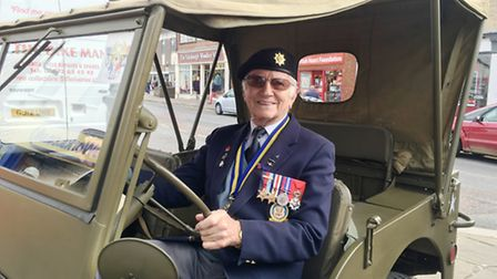 Launch of the Poppy Appeal 2016 in Sudbury. Pictured is WWII veteran Len Manning in a vintage jeep.