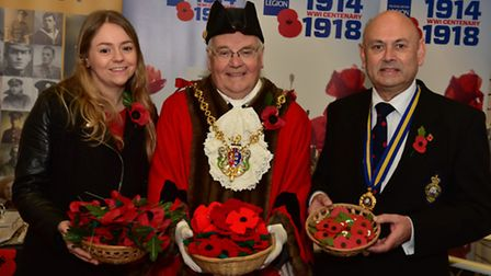 L-R Ellie Griss, Mayor Roger Fern, Robin Vickery in Ipswich. Picture: Sarah Lucy Brown