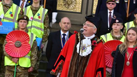 The Mayor of Ipswich, Roger Fern, launched the Poppy Appeal alongside veterans. Picture: SARAH LUCY