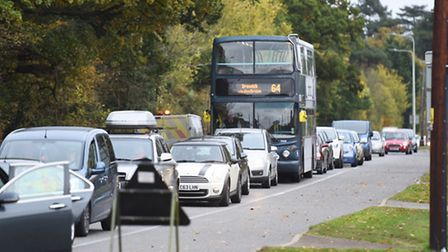 Roadworks on Main Road (A1214) in Kesgrave are causing long delays for motorists.