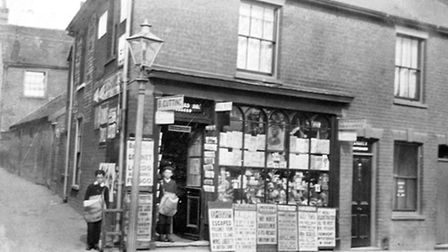 Miss B Cutting's newsagents and tobacconists shop at the junction of Vernon Street and Little Whip S