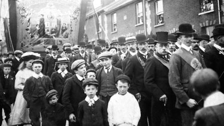 A hospital Sunday parade lined up in Station Street, Ipswich, around 1912.
