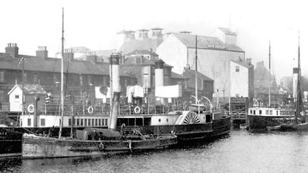 Paddle steamers moored at New Cut West, Ipswich. The Great Eastern Railways boats ran a service to F