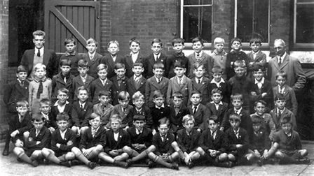 Pupils at Wherstead Road School, Ipswich. This undated photograph was probably taken in the 1920s.