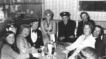 The singing Postman at the First Floor Club with Ken Bean (fouth left).
