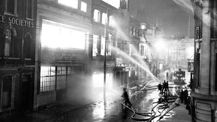 The fire of February 1950 which destroyed Haddock and Baines printing works and the Central Cinema.