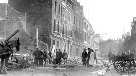 This picture was taken after Fraser's store (left) was destroyed in April 1912. The building next to