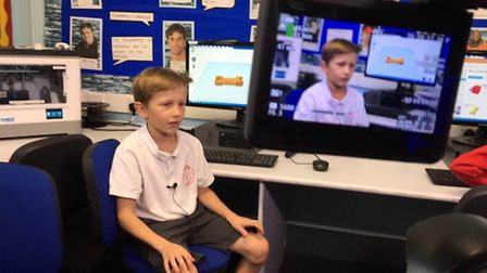 Pupils at Holbrook Primary School, who were filmed as part of a educational documentary on 3D printi