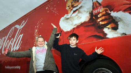 The Christmas Coca-Cola truck visited the Clacton Factory Outlets in 2014