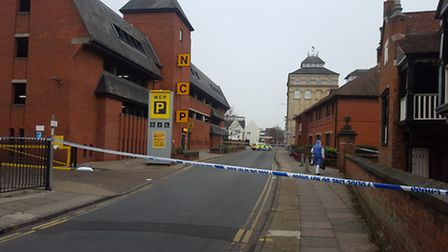 Scene of the double stabbing in Foundation Street, Ipswich.
