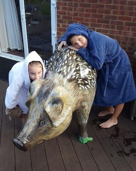 Jessamie and Maxwell with Hedgepig at Jane Feaviour's home in Chattisham.