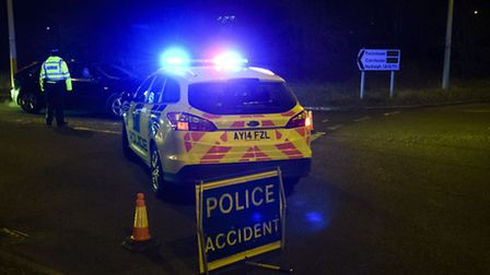 Ipswich, Suffolk. The scene of the road traffic collision on the A14 at Sproughton junction on Boxin