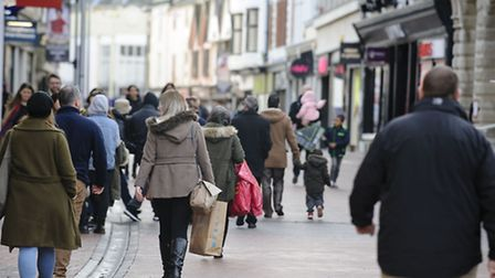 Early shoppers make their way into Ipswich to make the most of the Boxing Day sales. Picture: MARK