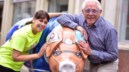 St Elizabeth Hospice's Samantha Catling and Norman Lloyd with Dr Trot and Nurse Honey-Cured.