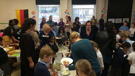 The parent share event at St Helen's Primary School in Ipswich, which was held on the same day as th