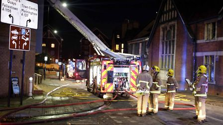 Fire broke out at student accommodation in Grimwade Street, Ipswich tonight - photo by Nigel Brown