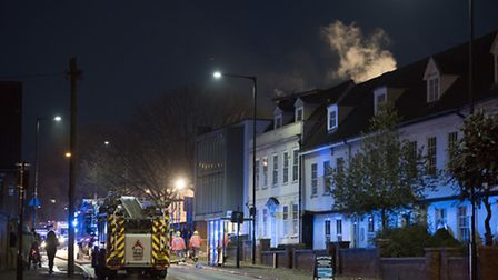Fire in student accommodation block in Grimwade Street in Ipswich - photo copyright Anglia Picture A