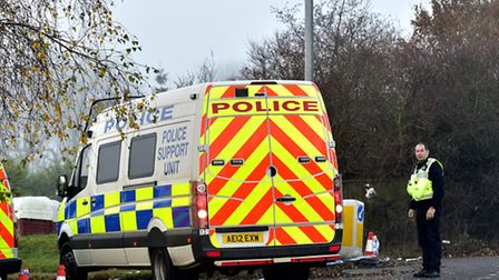 Police at the West meadows site in Ipswich following the incident