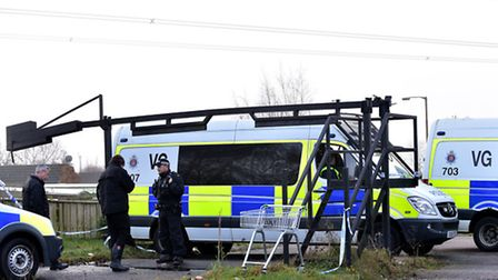 A heavy police presence at the gate of the West Meadows travellers' site