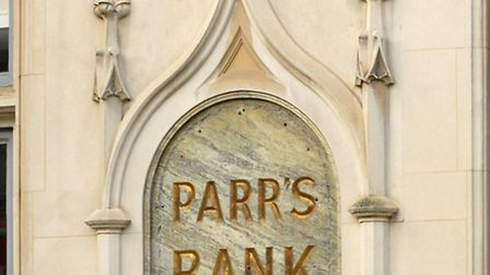 The Parr's Bank sign on the wall in Princes Street, as it looks now.