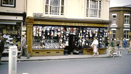 F. Prices' boot and shoe shop at the corner of Tacket Street and Lower Brook Street in 1959. This is